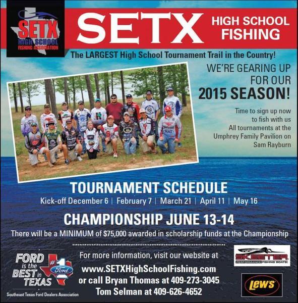 Setx high school fishing association bass fishing for Texas high school fishing