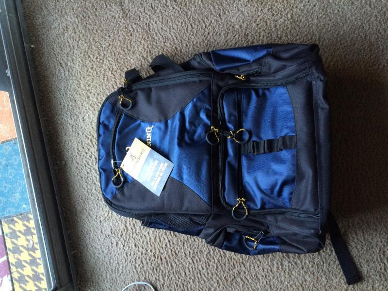 Brand new never used browning tackle backpack trading for Browning fishing backpack