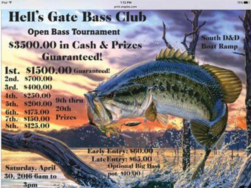 Hell 39 s gate bass club open tournament possum kingdom for Open bass fishing tournaments