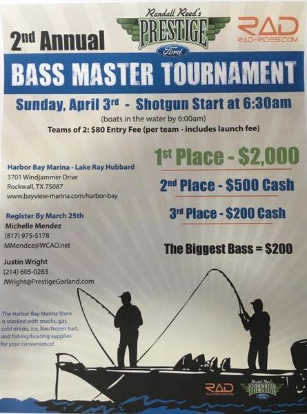 Bass tournament lake ray hubbard 04 03 2016 prestige ford for Fishing tournaments in texas