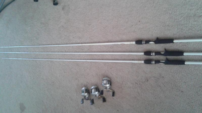 Duckett white ice rods and revo reels for sale trading for Sixgill fishing reels