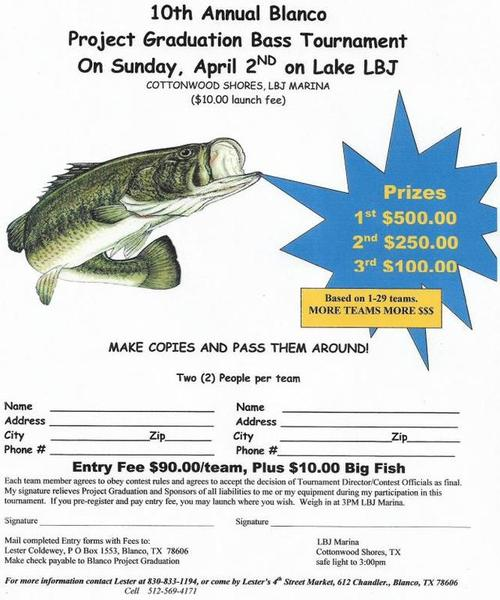 Blanco project graduation bass tournament on lbj for Fishing tournaments in texas 2017