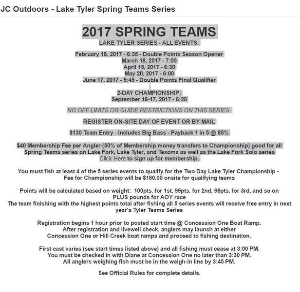 Jc outdoors lake tyler series 2017 schedule tournament for Fishing tournaments in texas 2017
