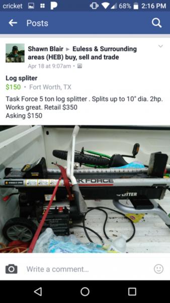 Log splitter non fishing classifieds texas fishing forum for Texas non game fish