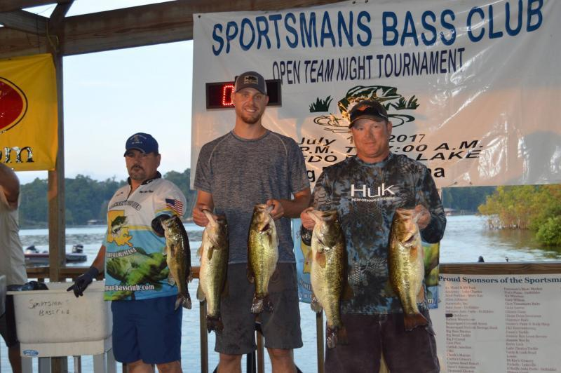 Results open team night tournament july 15 2017 for Fishing tournaments in texas 2017