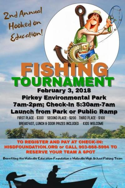 Hooked on education fishing tournament feb 3 pirkey for Fishing tournaments in texas