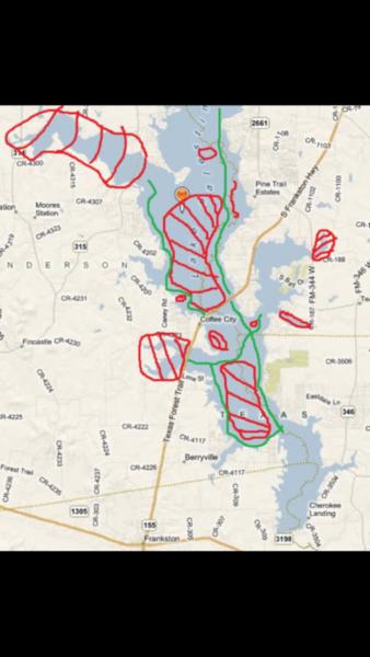 lake palestine texas map Navigating Lake Palestine Texas Fishing Forum lake palestine texas map