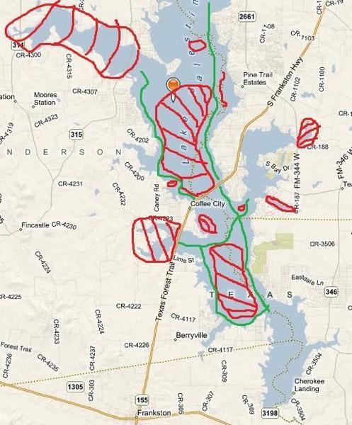 lake palestine texas map Lake Palestine Stump Map Texas Fishing Forum lake palestine texas map